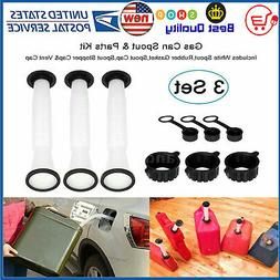 3 Sets Rubbermade Replacement Gas Can Spout and Parts Kit Bl