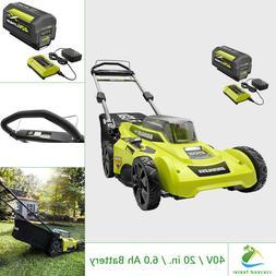 RYOBI 40V Lawn Mower Walk Behind Push 20 in Cut Deck w 6.0 A