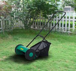 Outsunny Hand Push Lawn Adjustable Reel Mower w/ Grass Catch