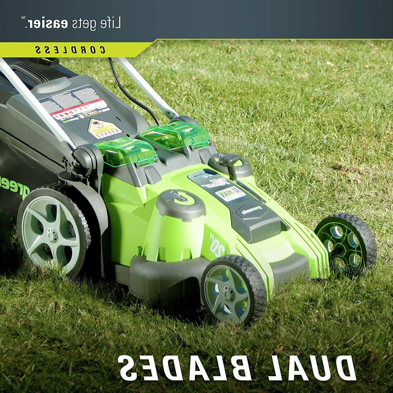 Greenworks 20-Inch 40V Dual Blade Cordless Lawn Mower 25302