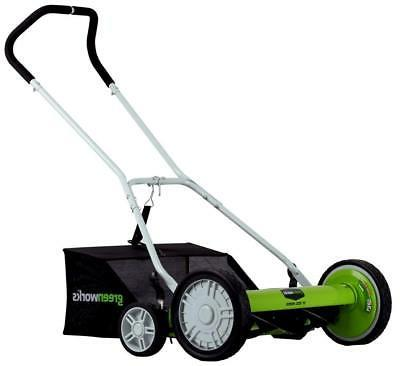 Greenworks 20-Inch 5-Blade Push Reel Lawn Mower with Grass C