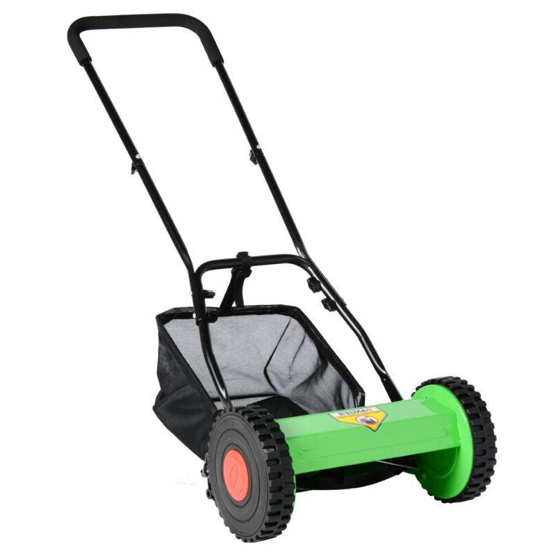 Hand Courtyard Reel Manual Lawnmower Grass Catcher US