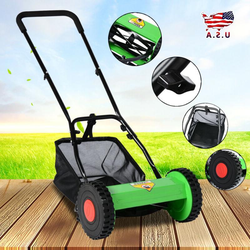 hand push adjustable reel manual lawn mower