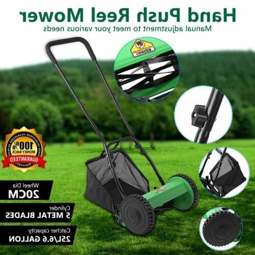 manual lawn mower adjustable roller grass garden
