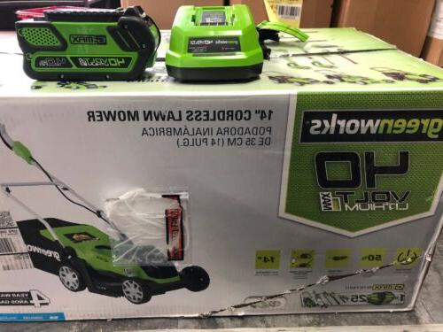 greenworks MO40B00 14-Inch Cordless Lawn & Charger Included