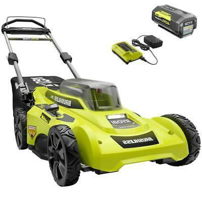 RYOBI Push Lawn Mower Walk Behind 20 In Cordless Battery Cha