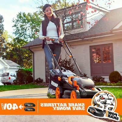 Worx WG779 40 14 Inch Power Cordless Mulching Lawn Mower