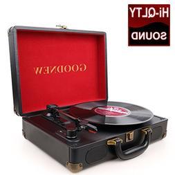 GoJiaJie vinyl record player Turntable with Built in Speaker