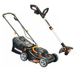 "WORX WG91 Extra 15% OFF 2X20V 17"" Lawn Mower & 12"" Cordless"