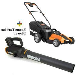 WORX WG959 2X20V Combo: Lawn Mower WG744 + FREE Turbine Leaf
